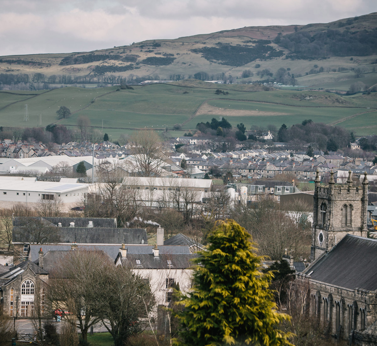 View of Kendal fells over the towns rooftops