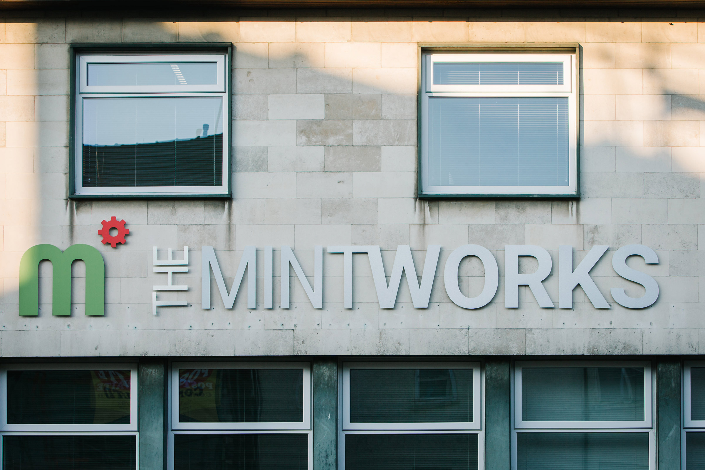 The MintWorks Kendal signage on the exterior of the building